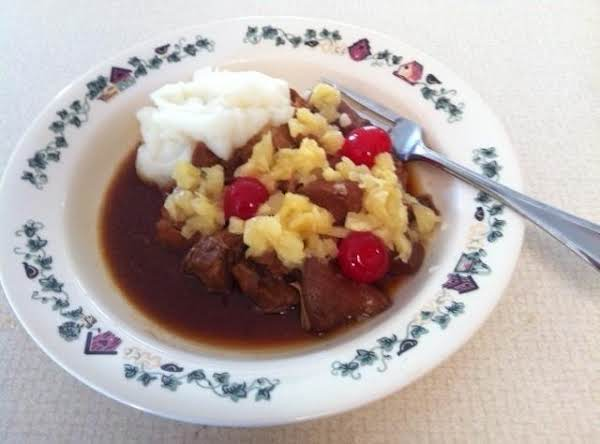I Added Pineapple And Marachino Cherries/with Mashed Potatoes. Delicious, Just Not Crunchy. :)