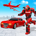 Flying Police Car Robot Hero: Robot Games icon