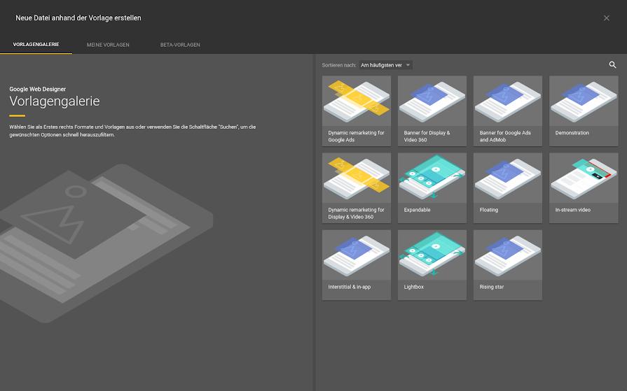 Vorlagen verwenden - Hilfe für Google Web Designer