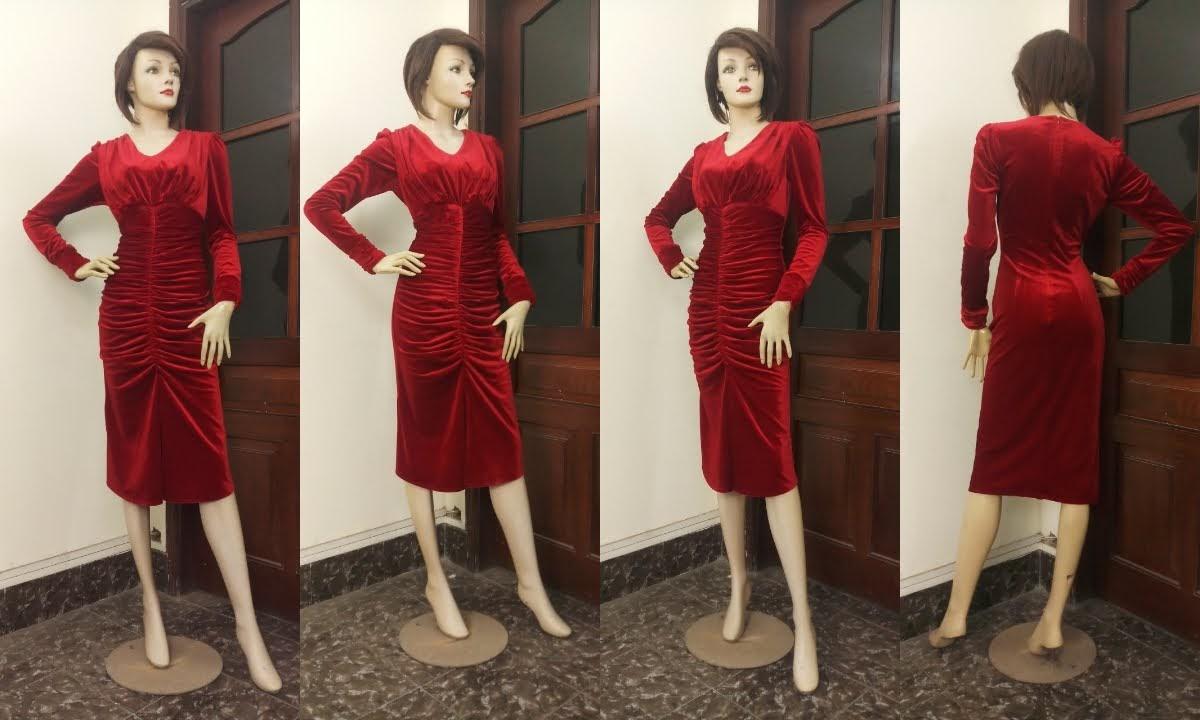 Váy dự tiệc Xếp nhun Vải nhung quyến rũ V671 thời trang thủy