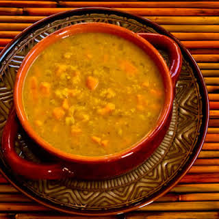 Crockpot (or Stovetop) Recipe for Red Lentil and Sweet Potato Soup with Curry and Coconut Milk.