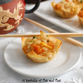 Shrimp Fried Rice in Wonton Wrappers.