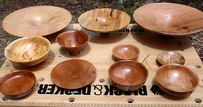 Photo: Some Phil Brown bowls on display.