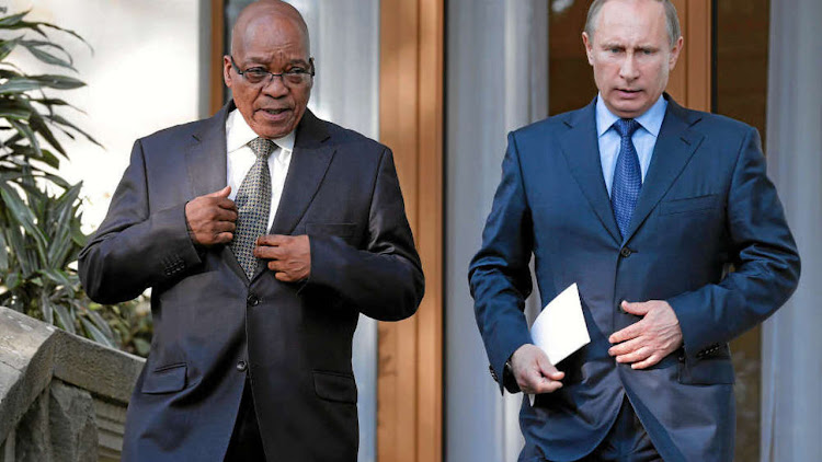 Jacob Zuma and Vladimir Putin. Picture: REUTERS