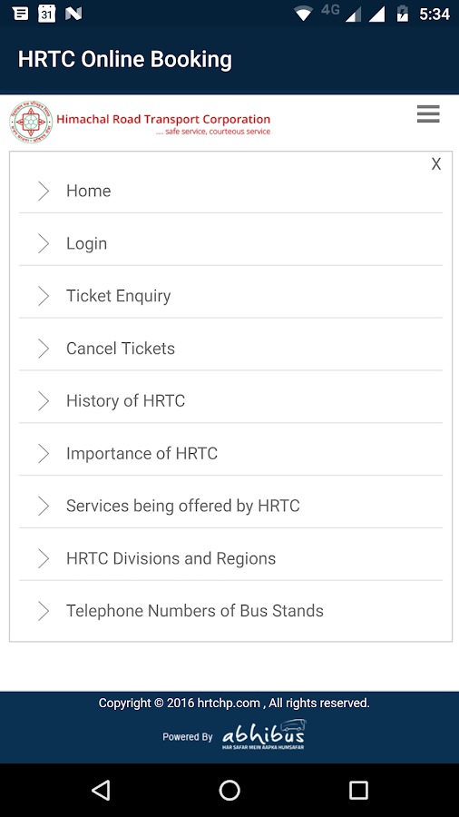 HRTC Online Booking Official- screenshot
