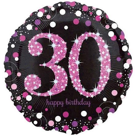 Folieballong Sparkling birthday 30 rosa