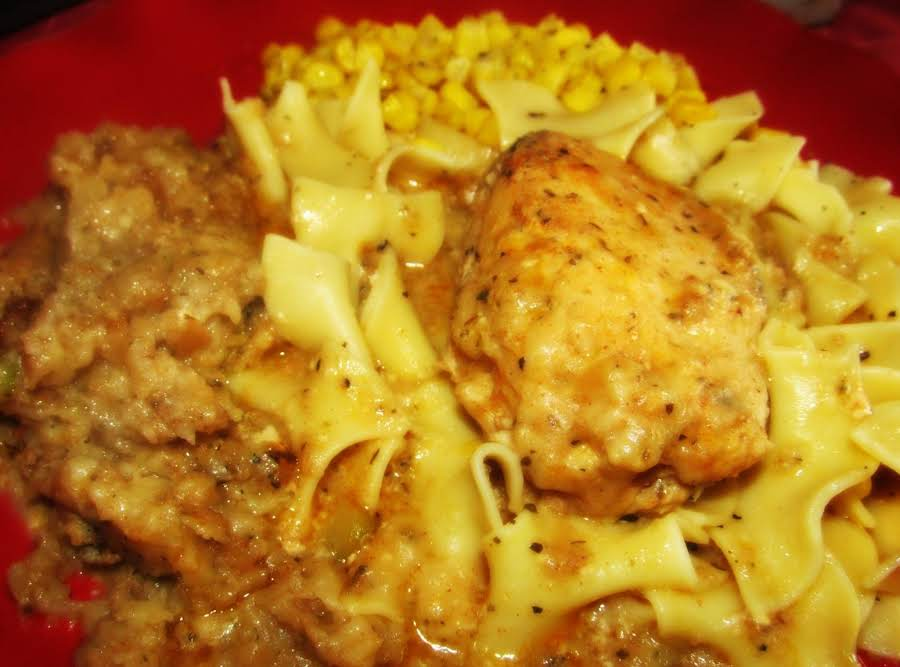 Crock pot smothered chicken recipe just a pinch recipes for Quick and easy crock pot dessert recipes