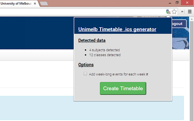 Unimelb Timetable to iCal