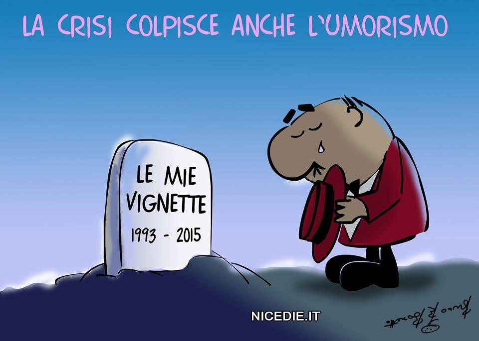 il signor Rossi di Bozzetto sulla tomba in alto: la crisi colpisce anche l'umorismo. sulla lapide: le mie vignette 1993-2015