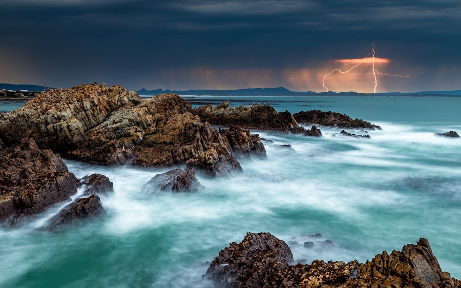 Lightning in the bay by Riaan Jacobs - Landscapes Waterscapes ( raw, clouds, kleinbaai, seascapes, weather )