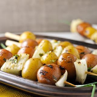 Lemon Garlic Potato Kabobs.