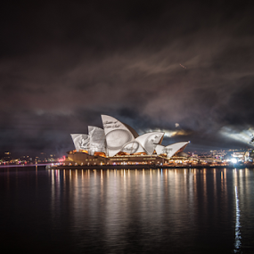 by Carley Reed - City,  Street & Park  Skylines ( lights, water, reflection, australia, harbour, celebration, navy, fleet review, sydney, smoke )