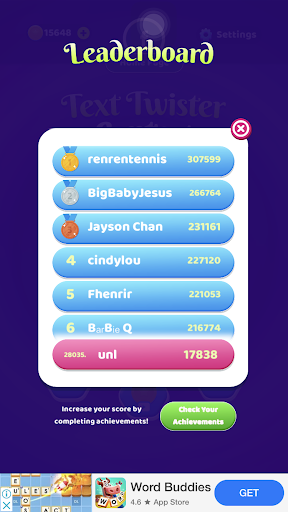 Text Twist With Friends - Unscramble jumbled words screenshot