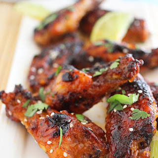 Baked Honey-Sriracha Chicken Wings.