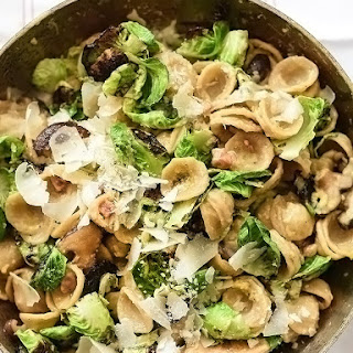 Carbonara Pasta With Charred Brussels Sprouts.