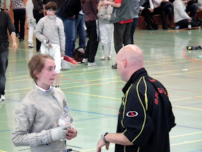 Photo: nog wat coaching tijdens de finale van deze belgische sabreuze