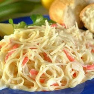 Angel Hair Pasta and Crab With Alfredo Sauce.