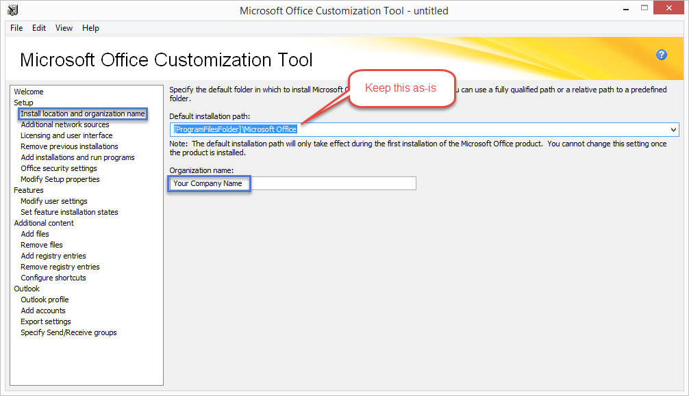 Deploy Office 2016 using the Microsoft Office Customization