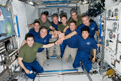 Expedition 16 and STS-123 Crewmembers in Columbus