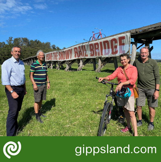 Federal Member for Gippsland Darren Chester is pictured Save the Snowy Rail Bridge Committee members Garry Squires, Liz Mitchell and Garry Bailey