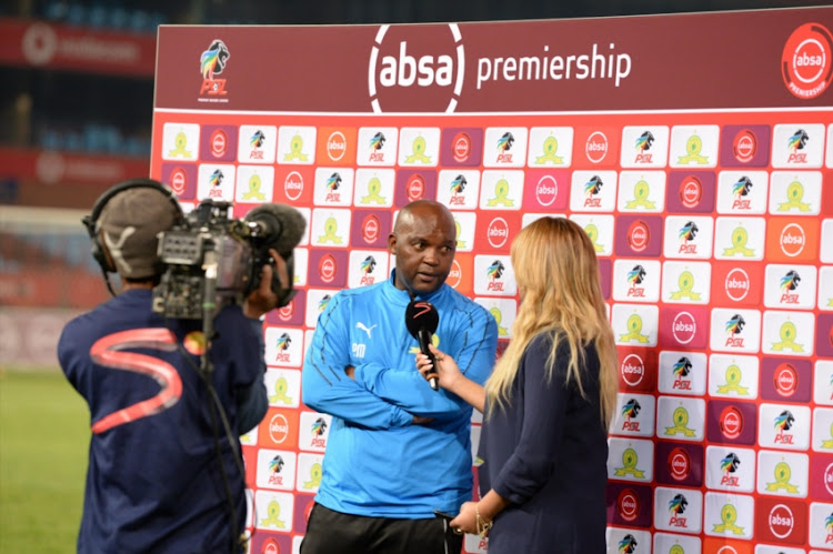 Julia Staurt speaks to Pitso Mosimane during the Absa Premiership match between Mamelodi Sundowns and Highlands Park at Loftus Versfeld Stadium on August 22, 2018 in Pretoria, South Africa.