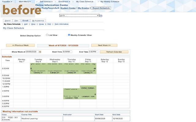PeopleSoft Course Schedule Export