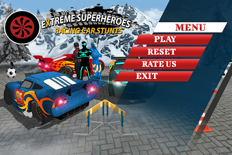 Extreme Superheroes Racing Car Stunts