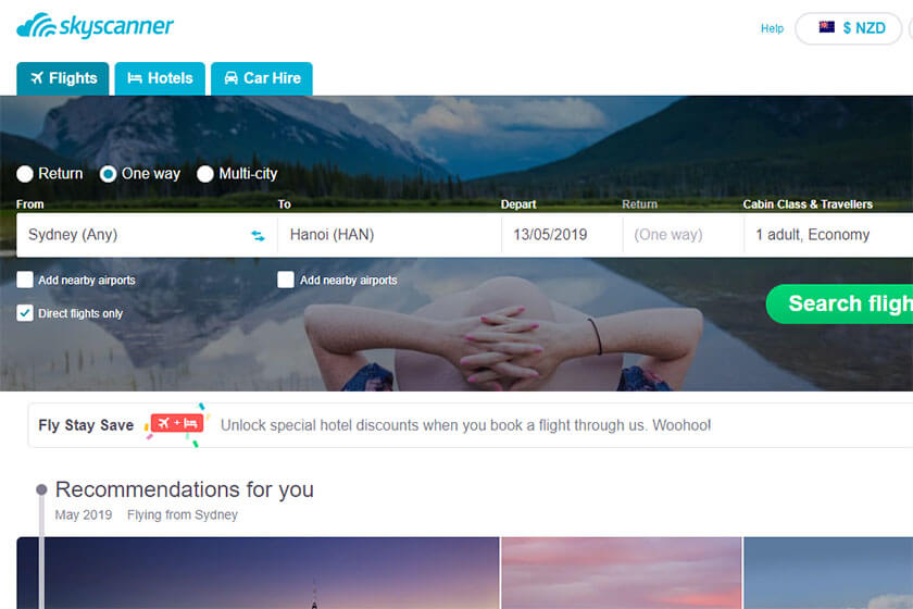 Skyscanner home page for cheap flights.