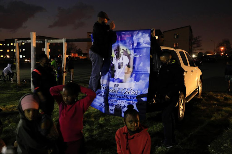 Mourners at the memorial service of Nateniël Julies in Eldorado Park on Thursday evening. The teenager was allegedly shot and killed by police.