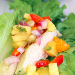 Spicy Chicken Lettuce Wraps with Pineapple Mango Salsa.
