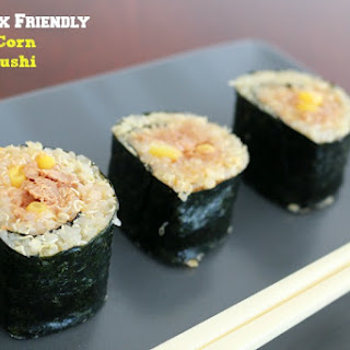 Lunch Box Friendly Tuna and Corn Quinoa Sushi.