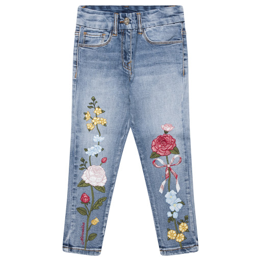 Primary image of Monnalisa Girls Floral Jeans