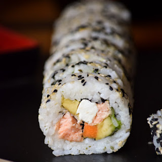 Smoked Salmon Philadelphia Roll Sushi.