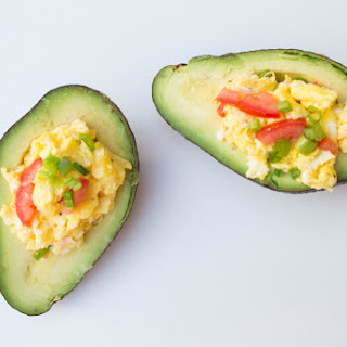 Avocado Topped w/ Cheesy Scrambled Eggs.