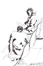 Photo: 2012.03.30鋼筆 帶來醫療中心新收體檢的老收容人要填表單,但沒老花眼鏡看不淸,一旁的年輕收容人於是好意就著椅子幫忙填寫…