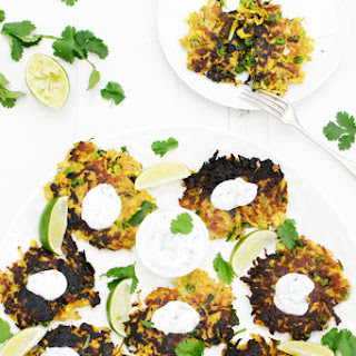 Golden Curried Parsnip & Pea Fritters [vegetarian]