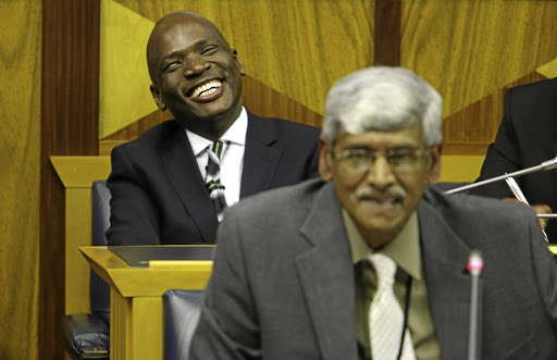 Hlaudi Motsoeneng called Krish Naidoo a sell-out during a media briefing./Ruvan Boshoff