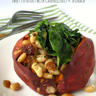 Baked Sweet Potatoes with Cannellinis and Baby Spinach.