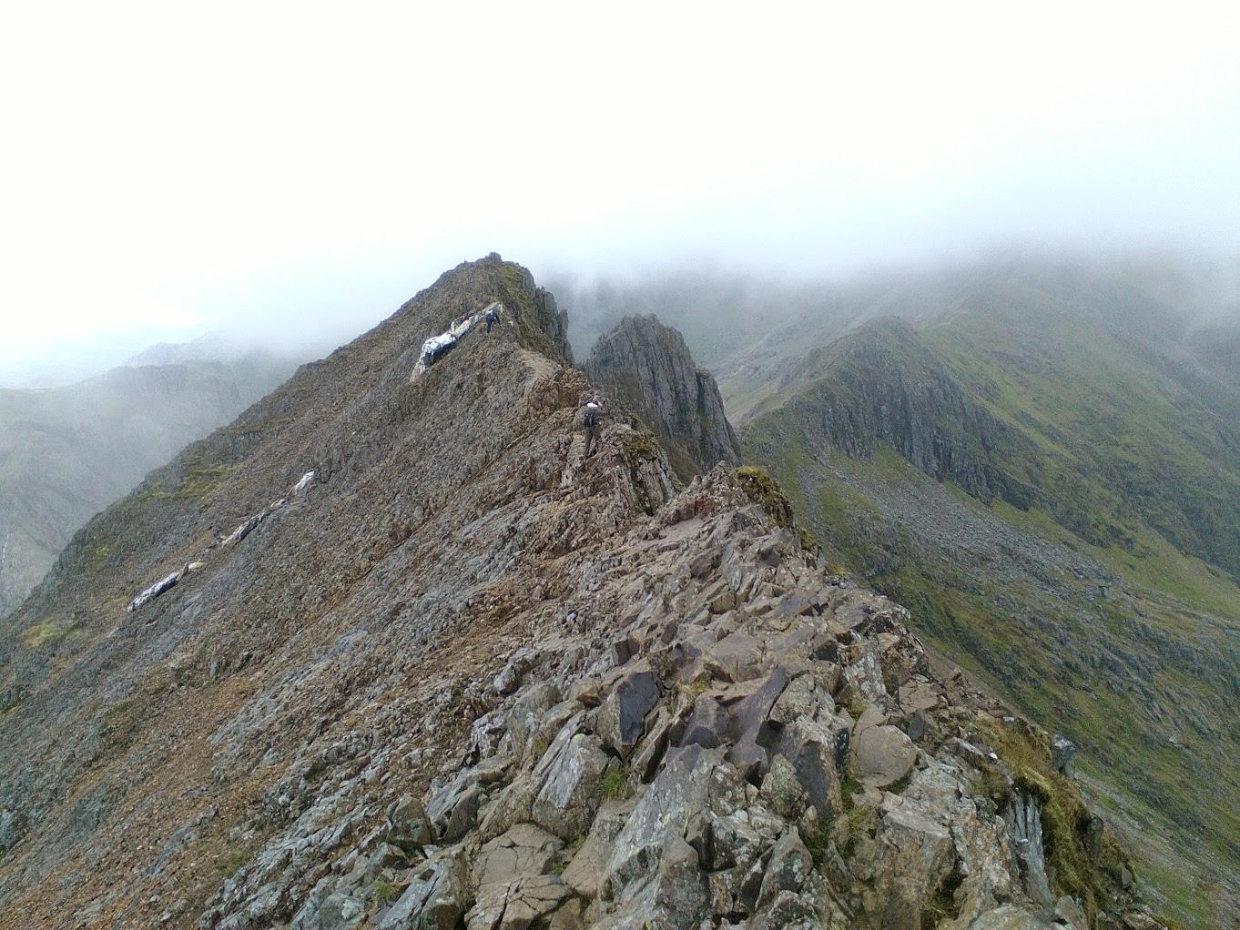 Looking back along the Crib Goch ridge