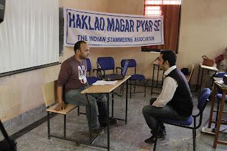 Photo: A mock interview... Gaurav volunteers