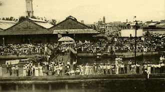Imagen del puerto de Veracruz con la llegada de los almerienses.