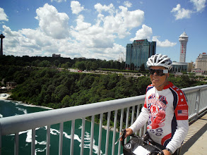 Photo: Day 46 August 3 2013 Brantford ON to Niagara Falls NY On the Canadian side of falls  Ed, crossing bridge into US
