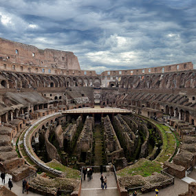 Colosseum Inside (Rome-Italy) by Eric Niko - Buildings & Architecture Statues & Monuments ( clouds, colosseum, italia, rome, empire, d7000, 12-24, monument, colosseo, italy,  )
