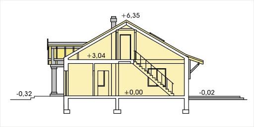 Sielanka 2 100 MDM wersja A z podwójnym garażem - Przekrój