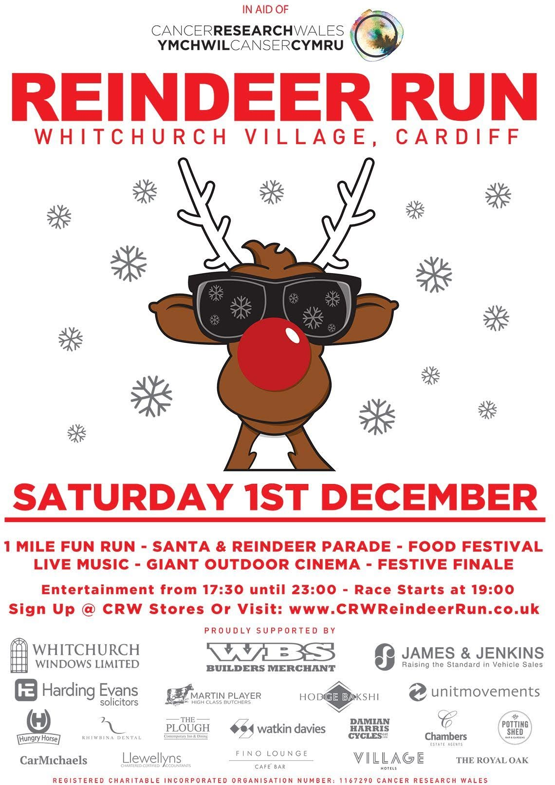 Cancer Research Wales Reindeer Run 2018 Poster