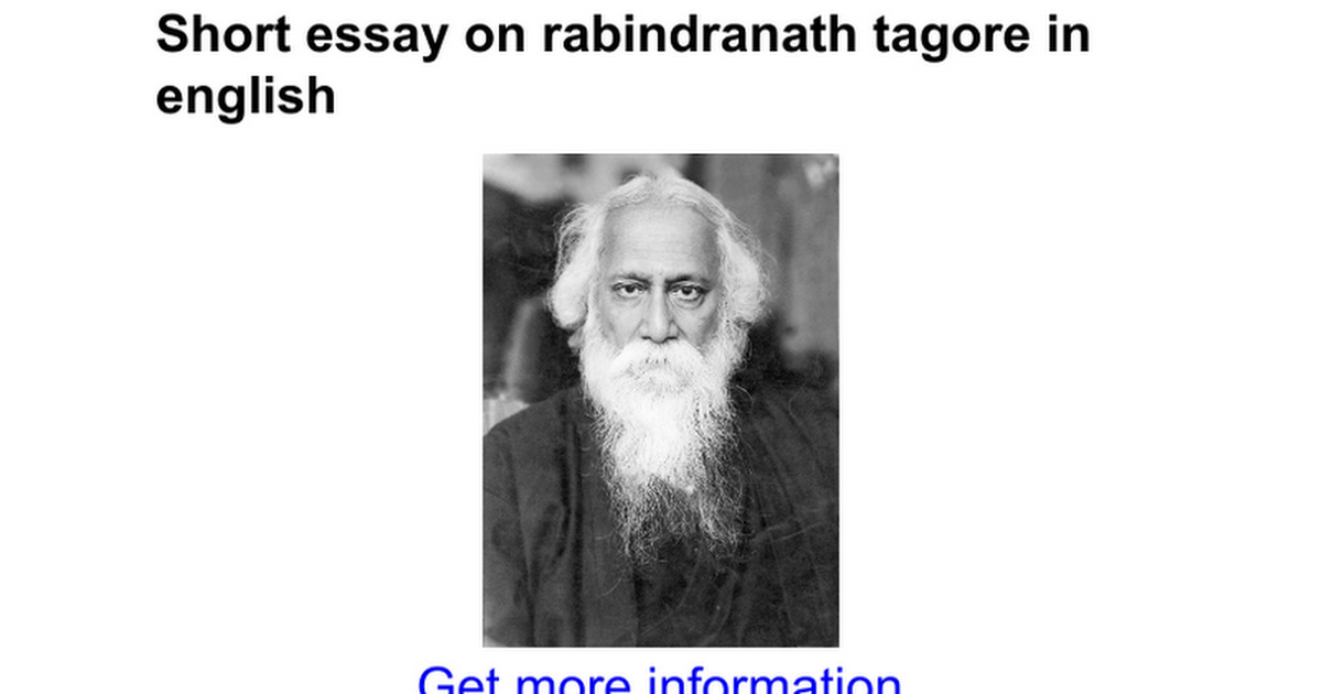 short essay on rabindranath tagore in english google docs