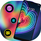 Neon light love heart colorful theme icon