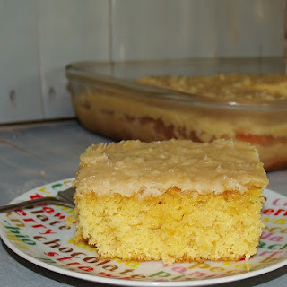 Fruit Cocktail Cake with Cooked Icing.