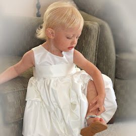 New Shoes by Lena Arkell - Babies & Children Hands & Feet ( toddler, white, flower girl, white dress, blonde, girl, blond, child )