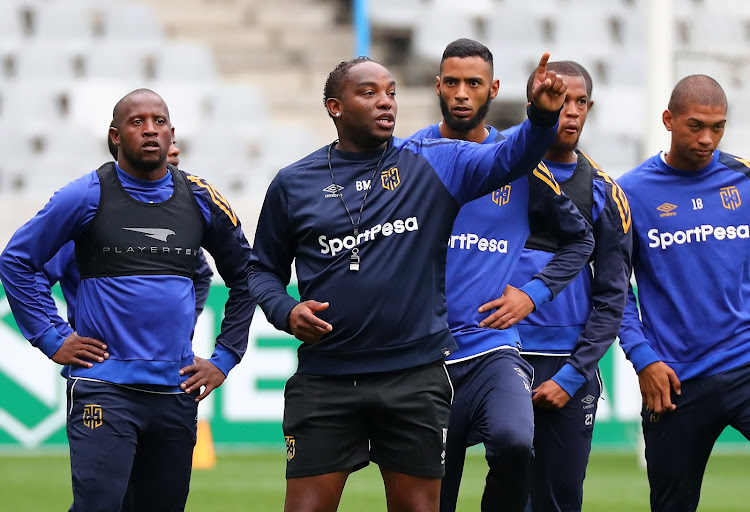 Cape Town City FC head coach Benni McCarthy issues instructions to his players during the Nedbank Cup media open Day at Cape Town Stadium in Cape Town on 13 March 2018.